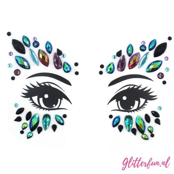 Blauw, paars en zelfs zwarte glitters zitten er in de steentjes van deze gezichtssticker. Perfect op een festival, carnaval of feest!