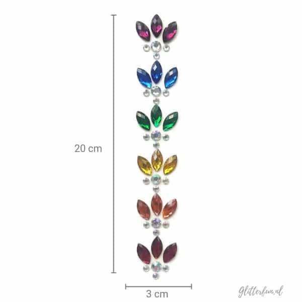 Rainbow haarglitter - edelsteentjes in een sliert van 12 cm
