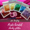 6 zakjes glitter in de kleuren van de regenboogvlag met glitterkwastje en glitterlijm