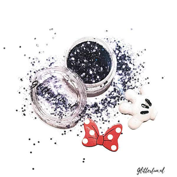 Disney glitter met Mickey Mouse handje en Minnie Mouse strik