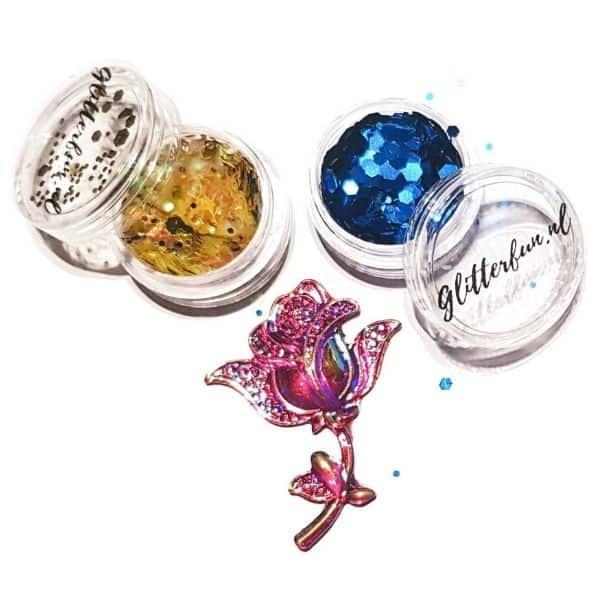 BU008 Beauty and the beast - Belle en het beest - Disney - bundel glitter roos, geel-goud, donkerblauw