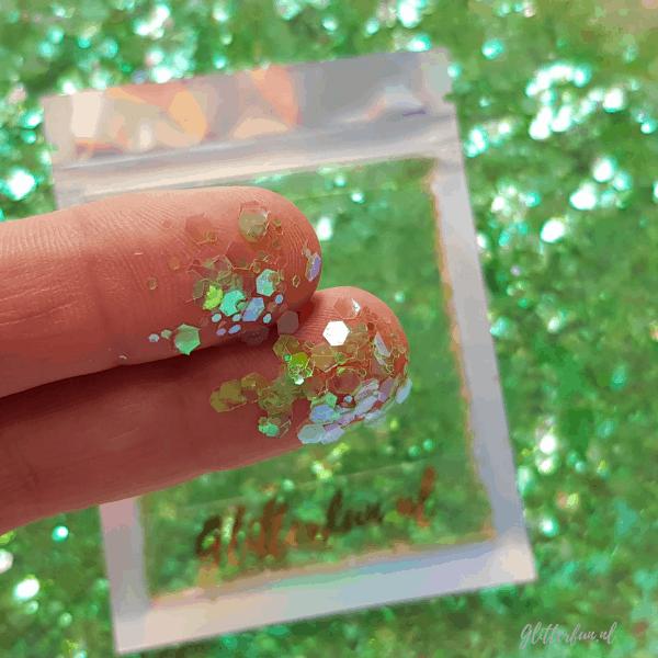 Groen transparant hexagon glitter – 1-3mm