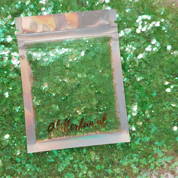Groen transparant hexagon glitter - 1/2/3 mm