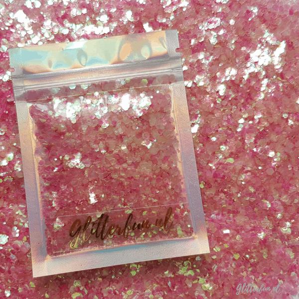 Roze transparant hexagon glitter - 1/2/3 mm