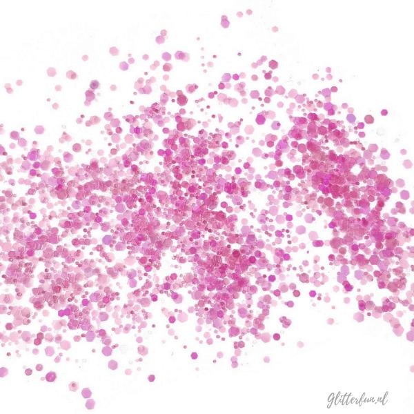 Roze transparant hexagon glitter - 1-3 mm