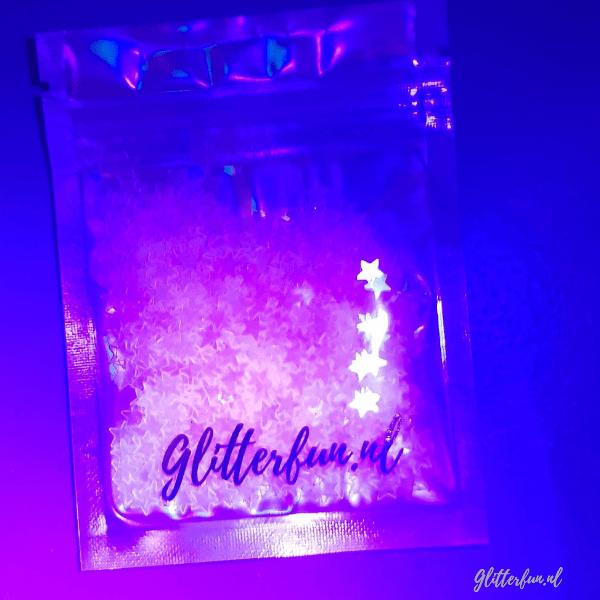 Roze sterren glitter mix - 3-5mm