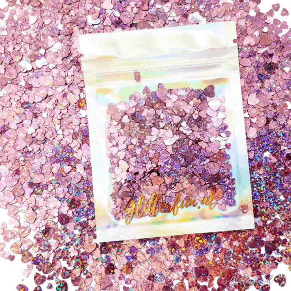 Roze, hologram hartjes glittermix - 3-6mm