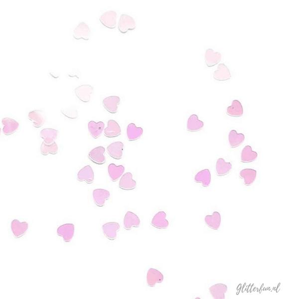 Witte, hologram hartjes glitter - 4mm