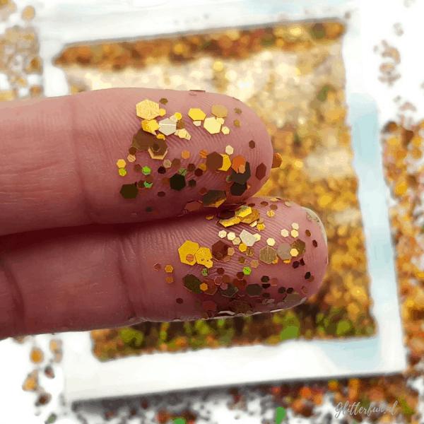 Goud hologram glitter hexagon – 1-3 mm