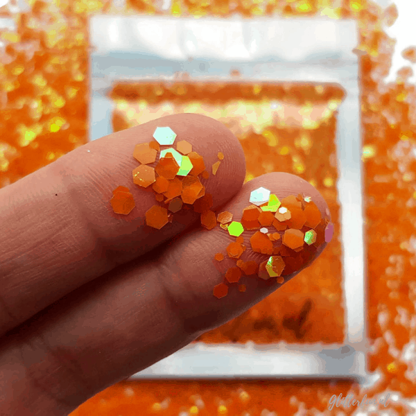 Oranje hologram hexagon glitter – 1-3 mm