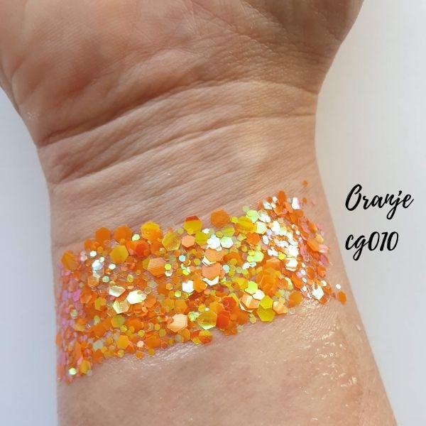 Oranje hologram hexagon glitter - 1-3 mm