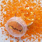 Oranje hologram hexagon glitter – 1-3 mm