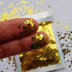 Goud hexagon glittermix – 1-3 mm