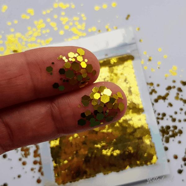 Gouden hexagon glitter - 1-3 mm