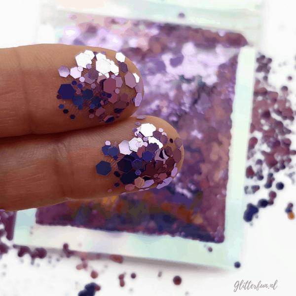 Paars hexagon glitter - 1-3 mm