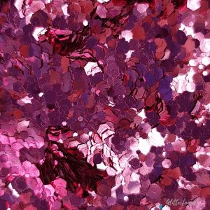 Roze hexagon glitter – 1-3 mm