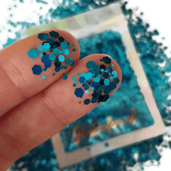 Blauw hexagon glitter - 1-3 mm