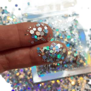 Zilver, hologram hexagon glitter – 1-3 mm