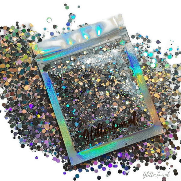 Zilver, hologram hexagon glitter - 1-3 mm