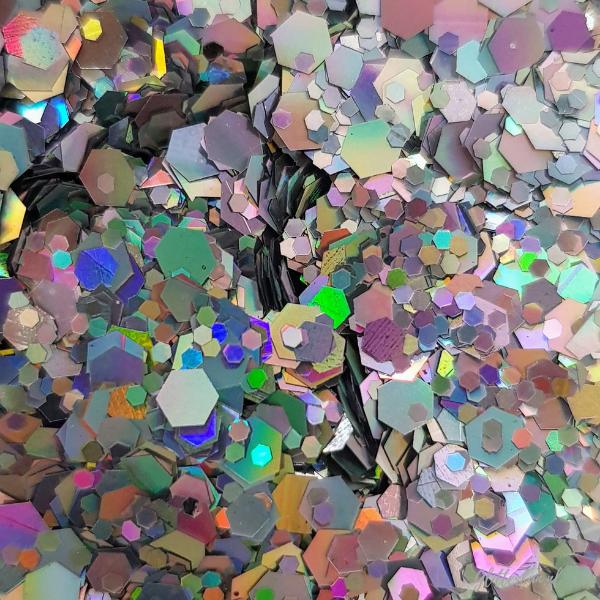 Zilveren glittere in verschillende maten, holografisch