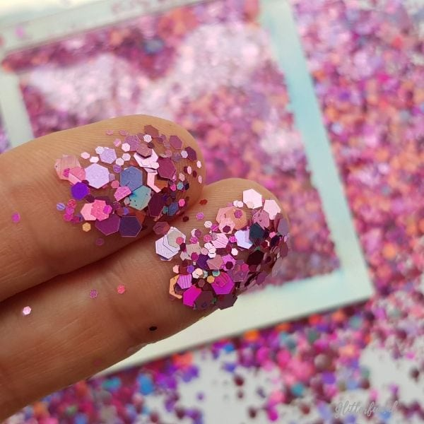Roze hologram hexagon glittermix - 1-3 mm