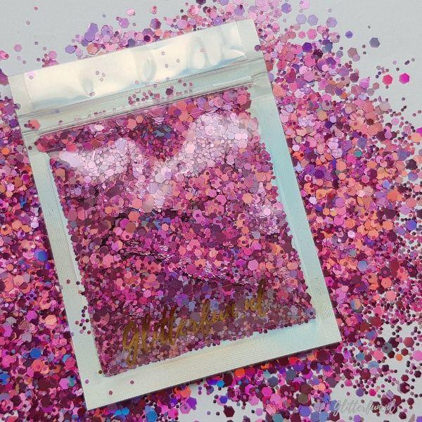Roze hologram hexagon glittermix - 1-3 mm