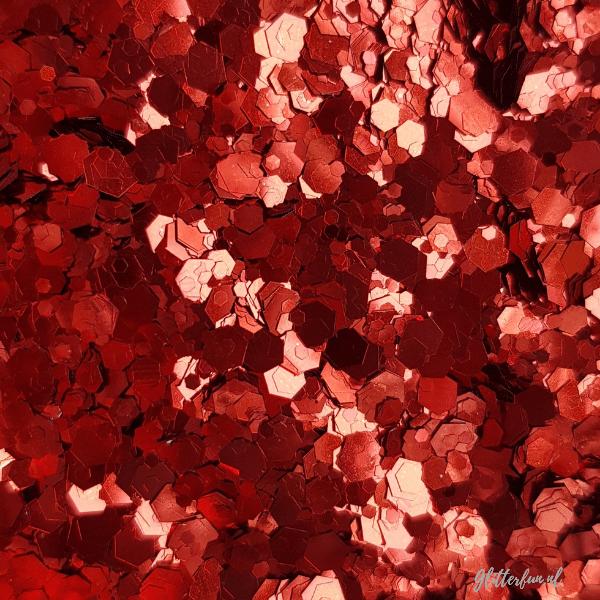 Rode hexagon glittermix - 1-3 mm