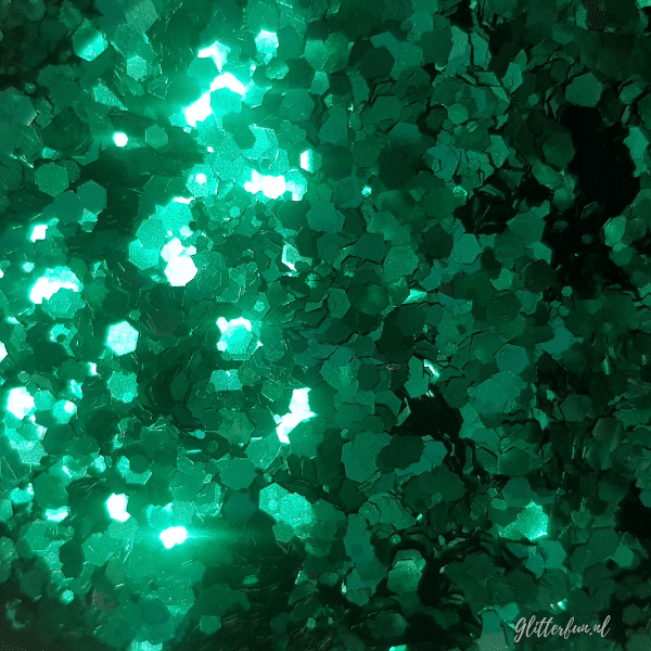 Donkergroen hexagon glittermix – 1-3 mm