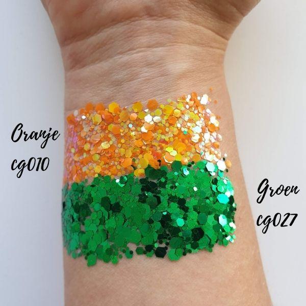 oranje en groene glitter kruikenstad