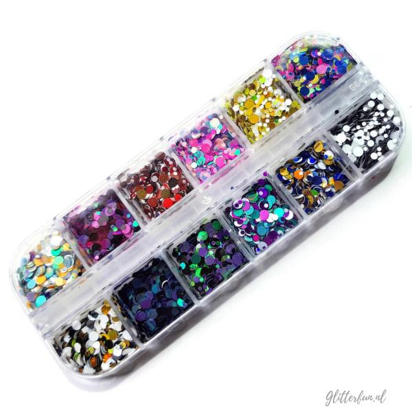 Doosje met 12 verschillende kleurencombi ronde glitter