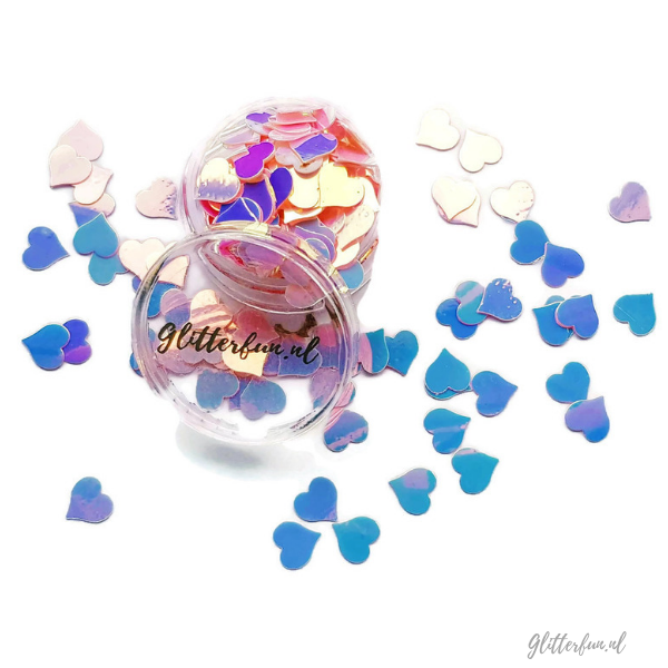 Grote roze hologram hartjes glitter - 8mm met glitterfun bakje