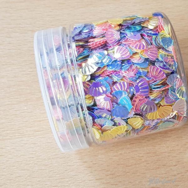 Glitterschelpjes mix – 7mm