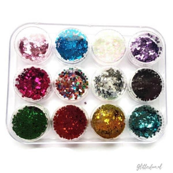 doosje met vierkante glitters