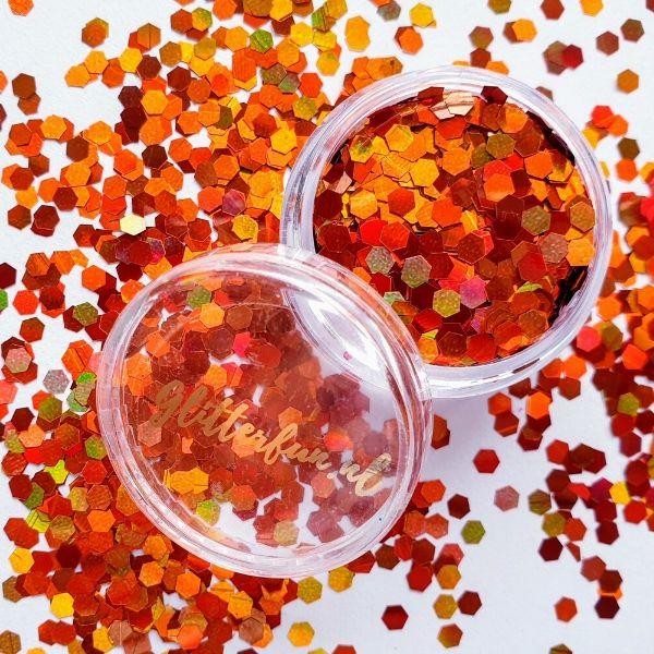 Koper of donker oranje glitter - 3 mm
