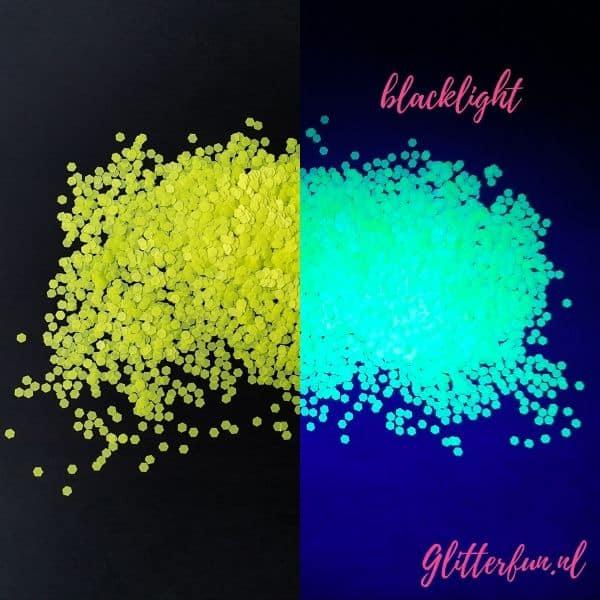 Neon glitter geel, licht op in blacklight
