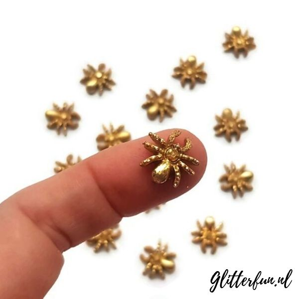gouden glitter spinnen voor halloween