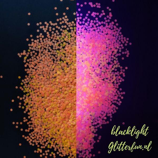 Neon glitter oranje grof – blacklight