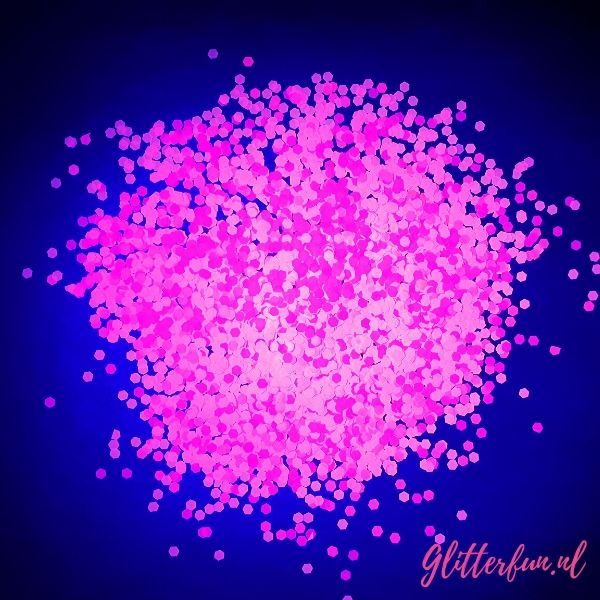 Neon glitter roze, licht op in blacklight