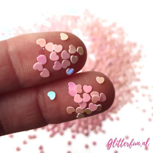 Roze glim hartjes – 3mm