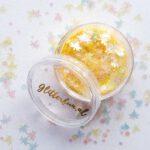 Gele blaadjes glitter hologram