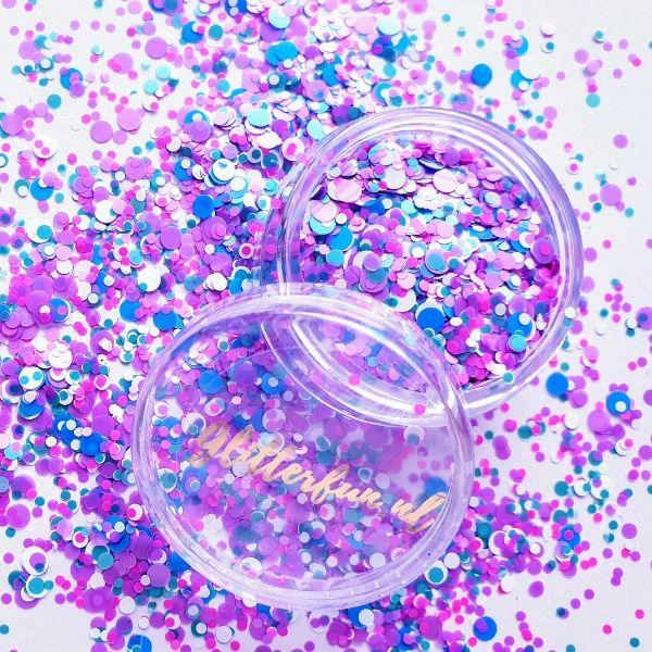 Ronde paarse glittermix
