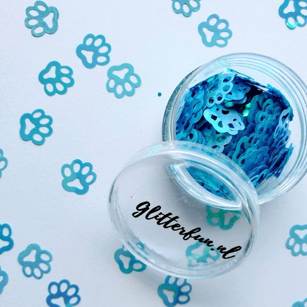 Pootjes glitter blauw - 1cm