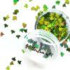Groene blaadjes glitter - hologram