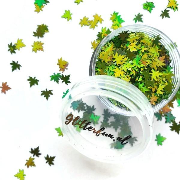 Groene blaadjes glitter – hologram