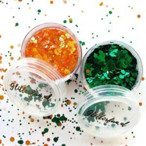 Kruikenstad glitter – groen/oranje – glim