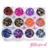 12 kleurencombi ronde glittermix