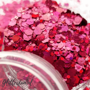 Donker roze grote glittermix
