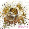 Geel goud hologram glittermix hexagon - 0,08-3 mm