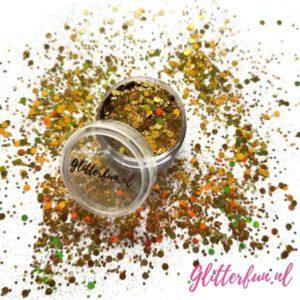 Geel goud hologram glittermix hexagon – fijn en grof