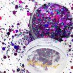 Paarse glittermix hexagon – fijn en grof